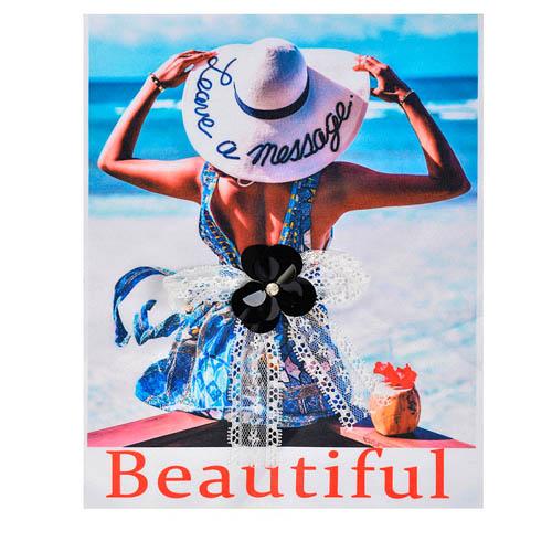 TBY.G07 Аппликация пришивная с 3D украшением Девушка в шляпе 20*25см