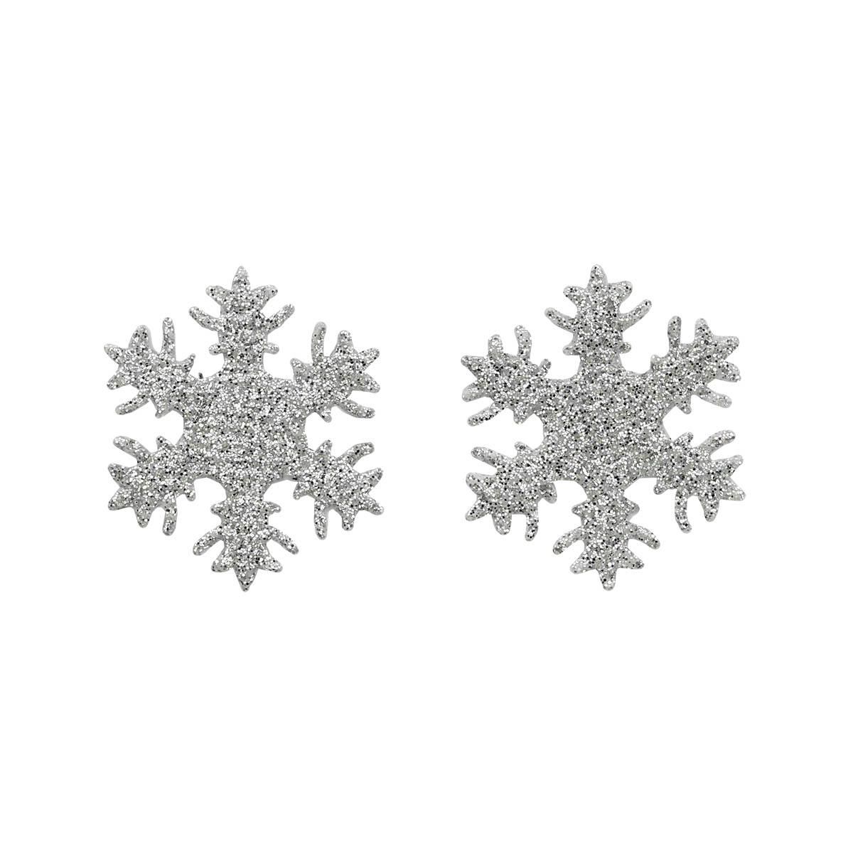26844 Набор декоративных элементов из ткани 'Снежинки' с глит. , диам. 30мм*0,5мм, 6шт