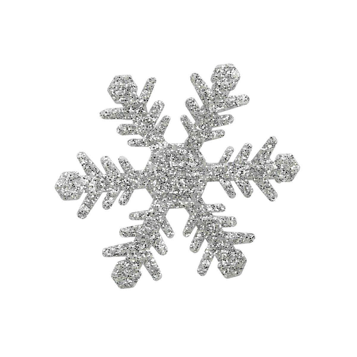 26842 Набор декоративных элементов из ткани 'Снежинки' с глит. , диам. 40мм*0,5мм, 6шт
