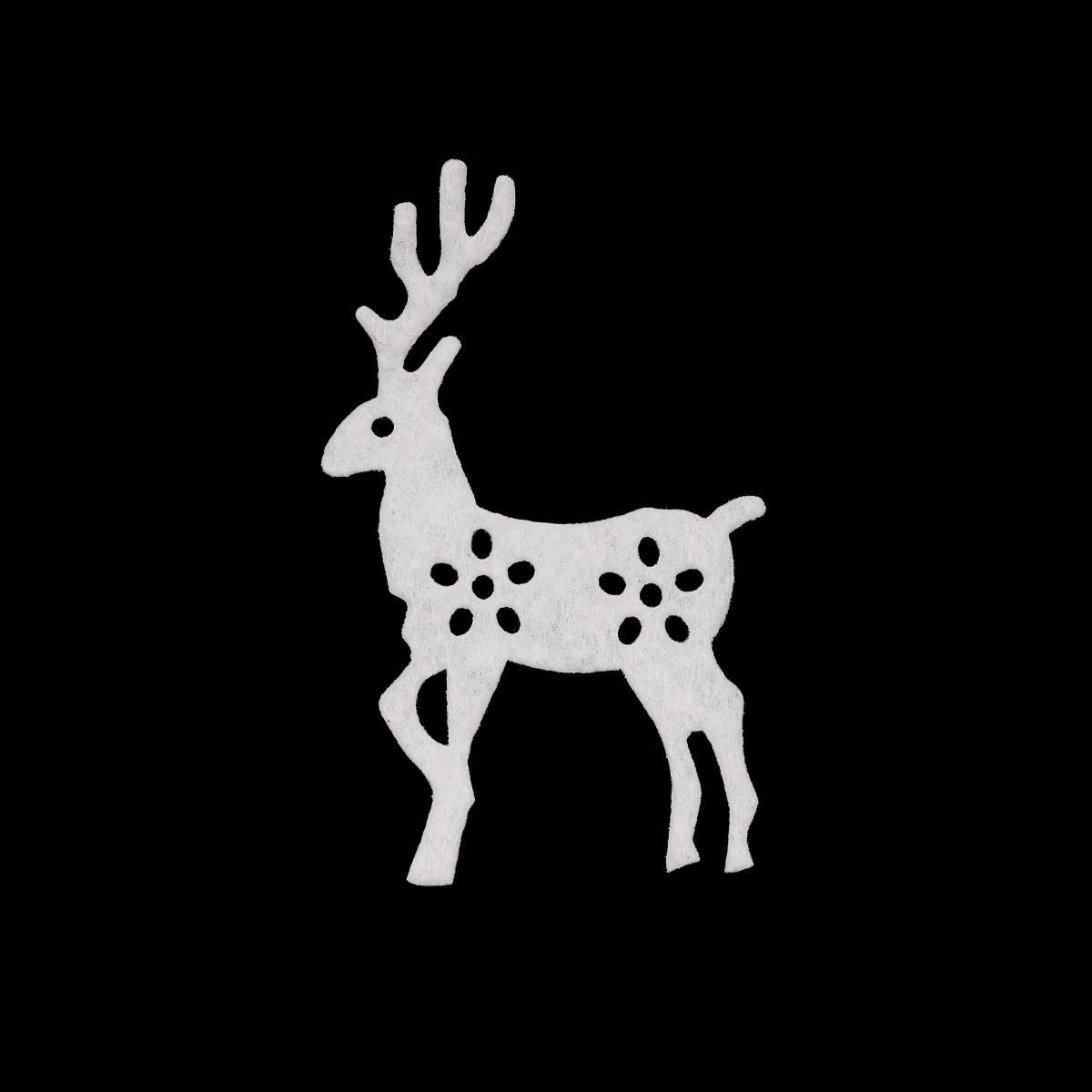 26839 Набор декоративных элементов из фетра 'Олени' , 65*40мм*0,5мм, 4шт, цв. белый