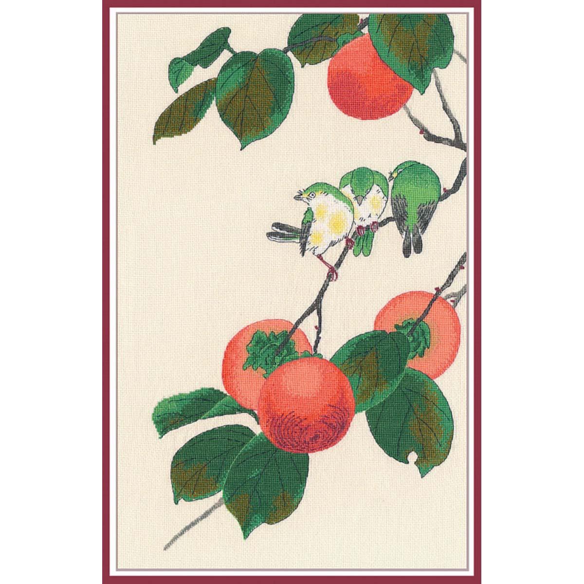 1265 Набор для вышивания ОВЕН 'Белоглазки и хурма'27×45 см