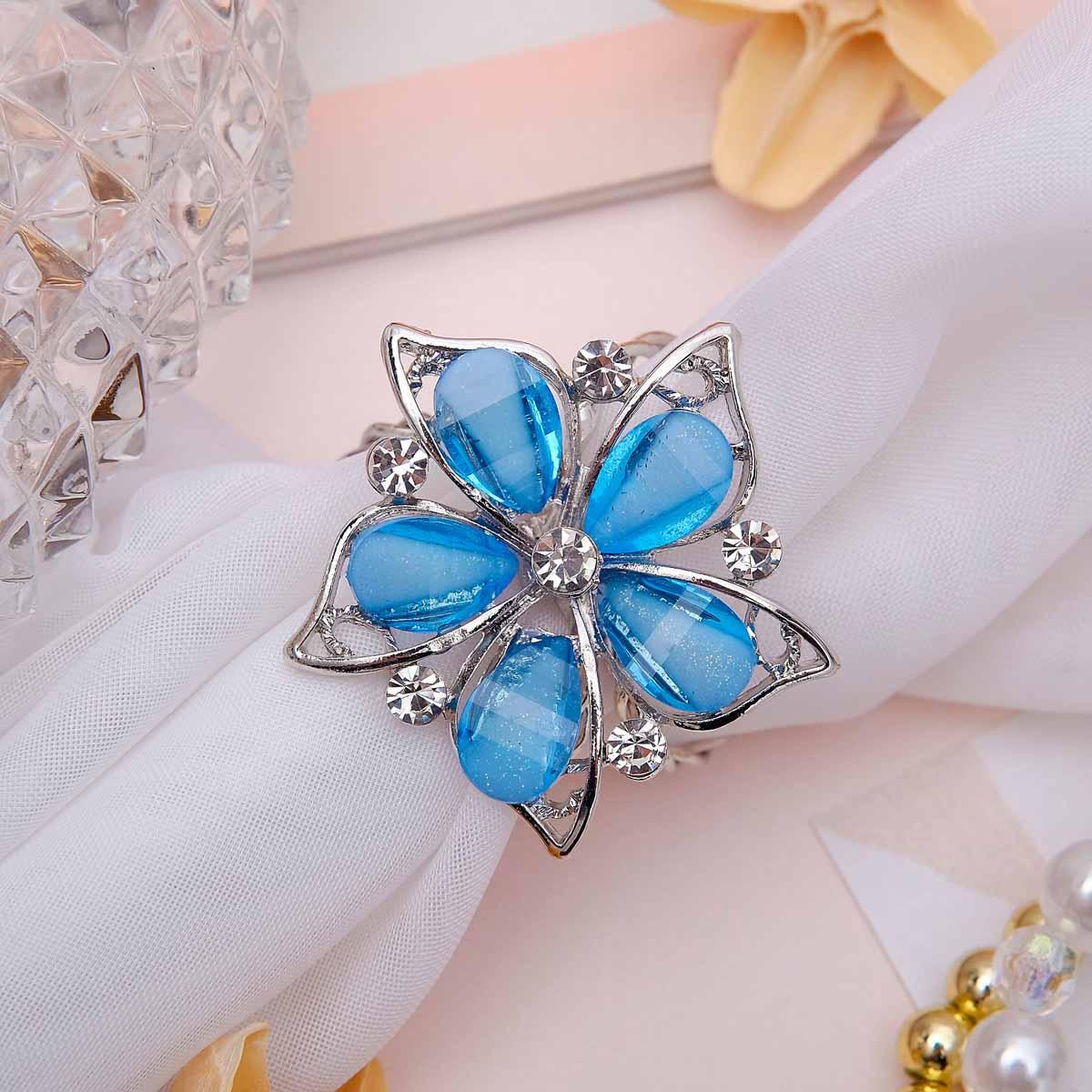 3734778 Кольцо для платка 'Цветок магнолия', цвет синий в серебре