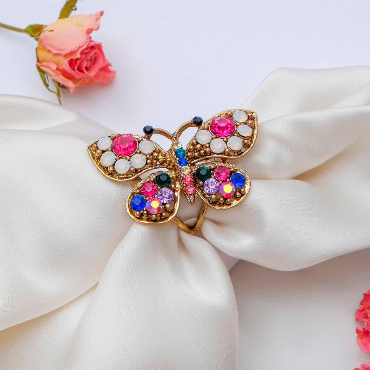 3925000 Кольцо для платка 'Бабочка', цветное в черненом золоте