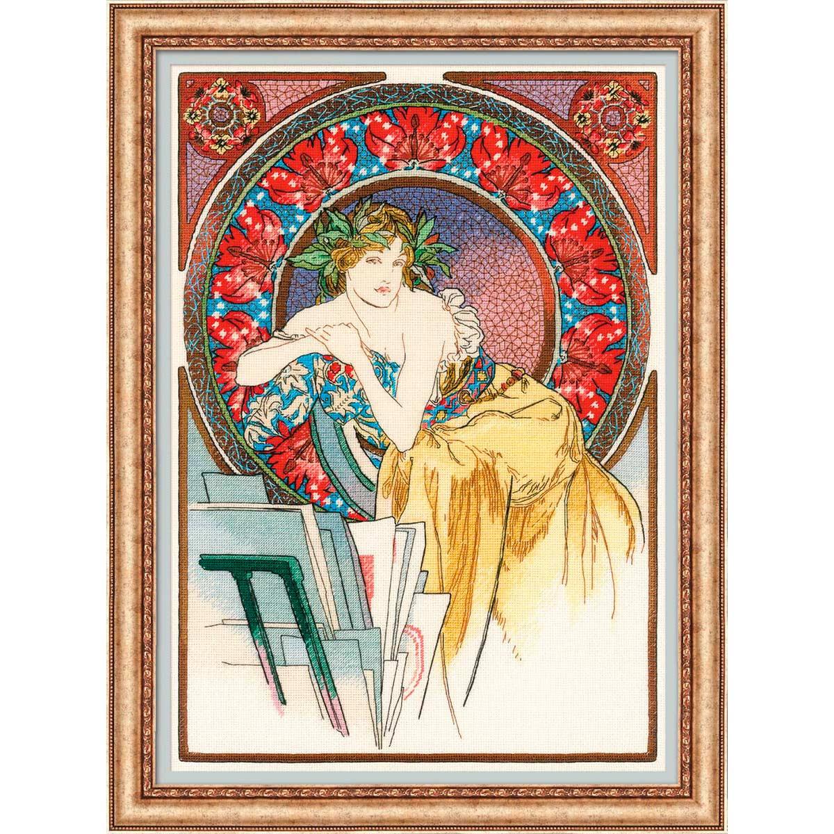 100/058 Набор для вышивания Риолис 'Девушка с мольбертом» по мотивам произведения А. Мухи'28*40 см