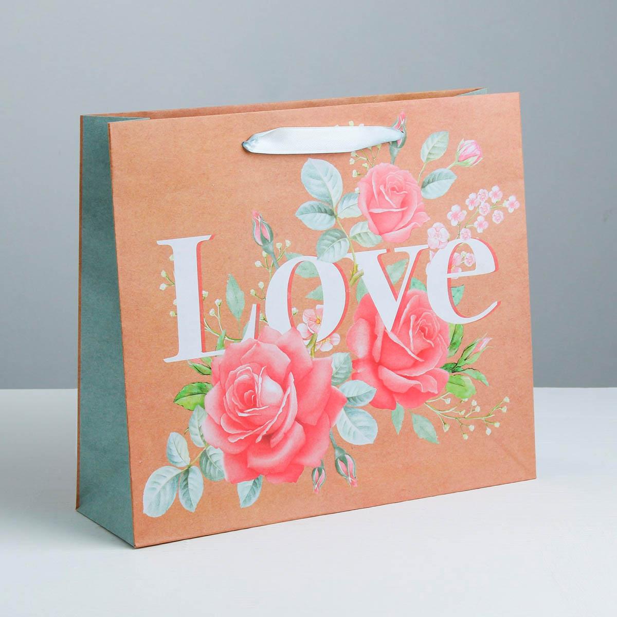 3680929 Пакет горизонтальный крафтовый «Цветочная любовь»,