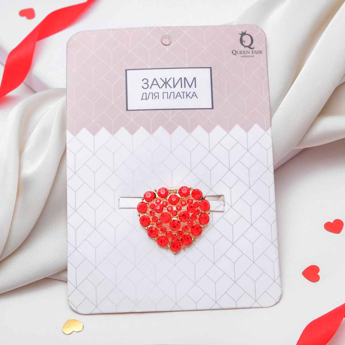 1353802 Зажим для платка 'Сердце', цвет красный в золоте