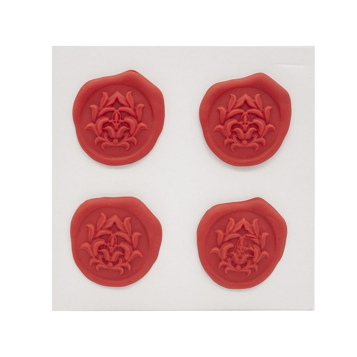Оттиски печатей из полимерной глины 'Лотос' 30*35мм, 4шт/упак Астра