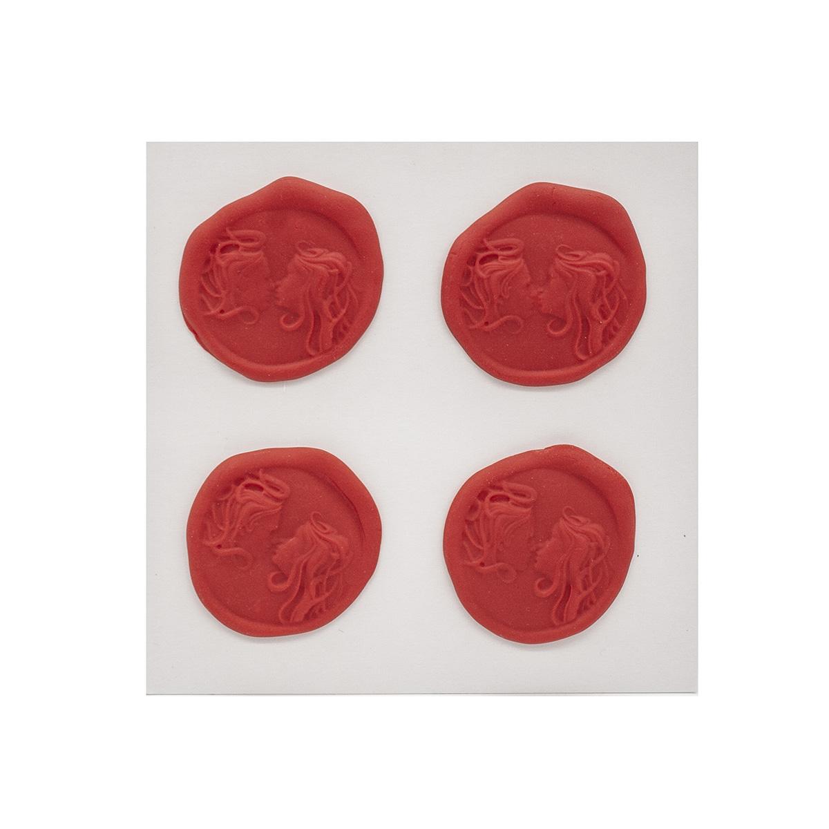 Оттиски печатей из полимерной глины 'Пара' 30*35мм,