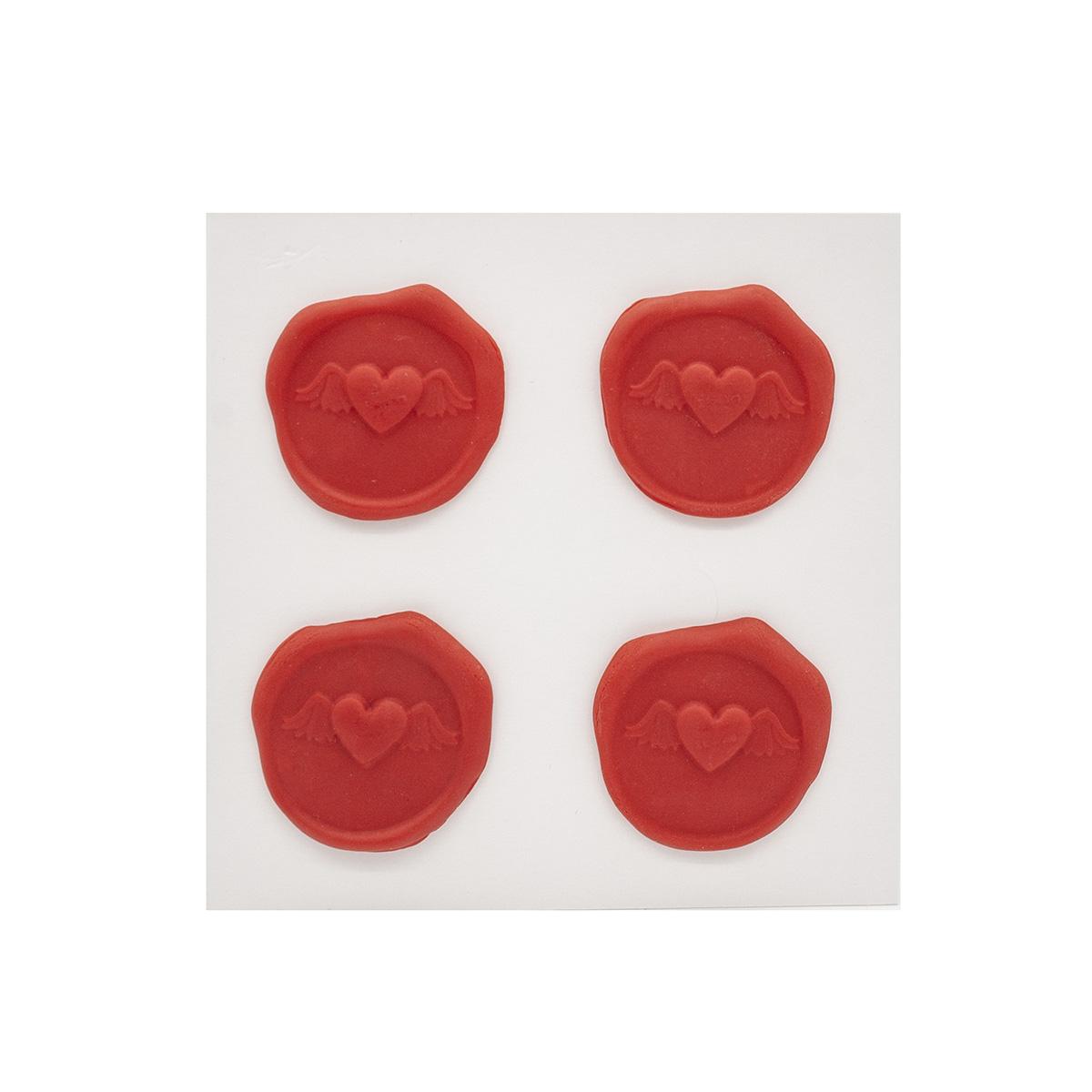 Оттиски печатей из полимерной глины 'Сердце' 30*35мм, 4шт/упак Астра