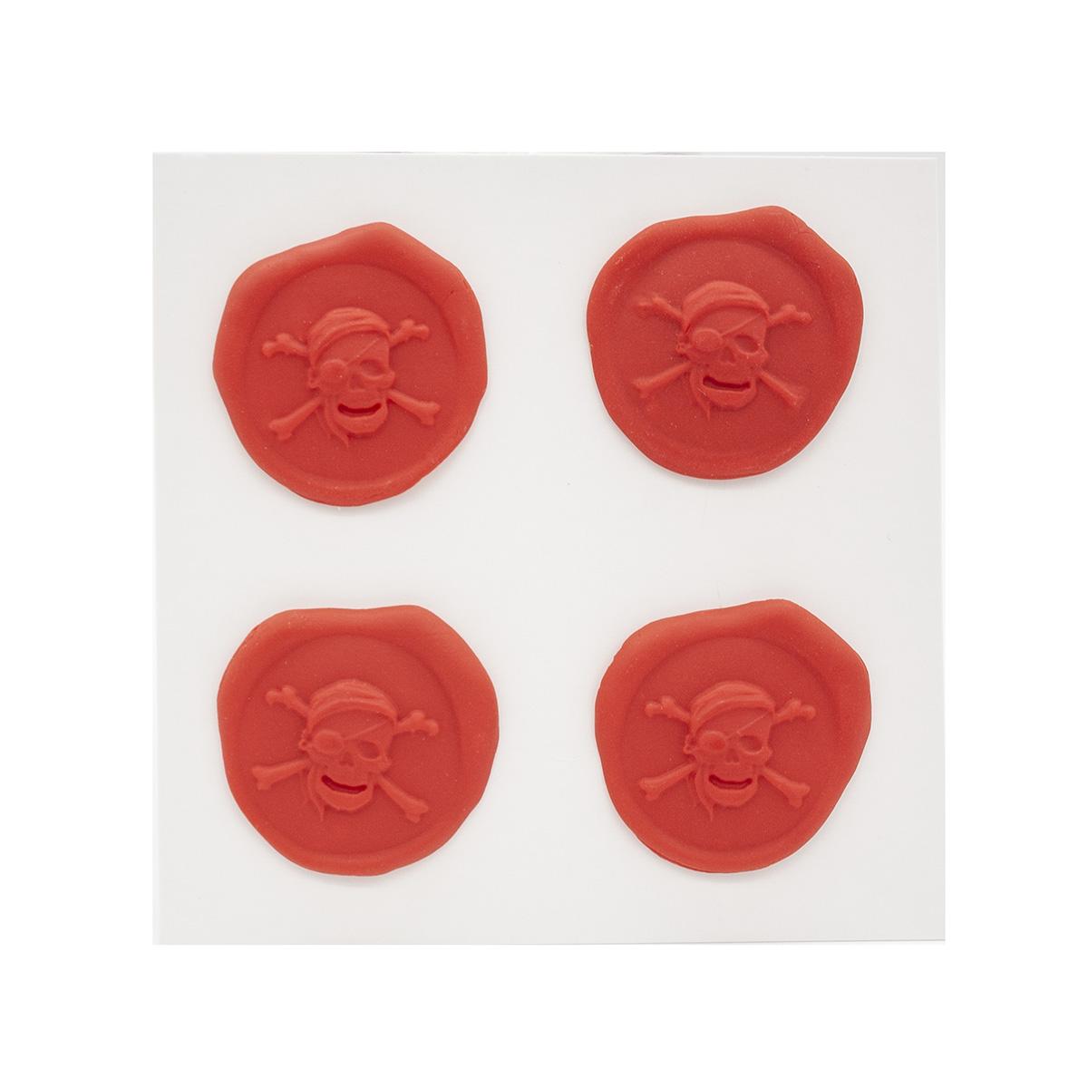 Оттиски печатей из полимерной глины 'Череп и кости' 30*35мм, 4шт/упак Астра