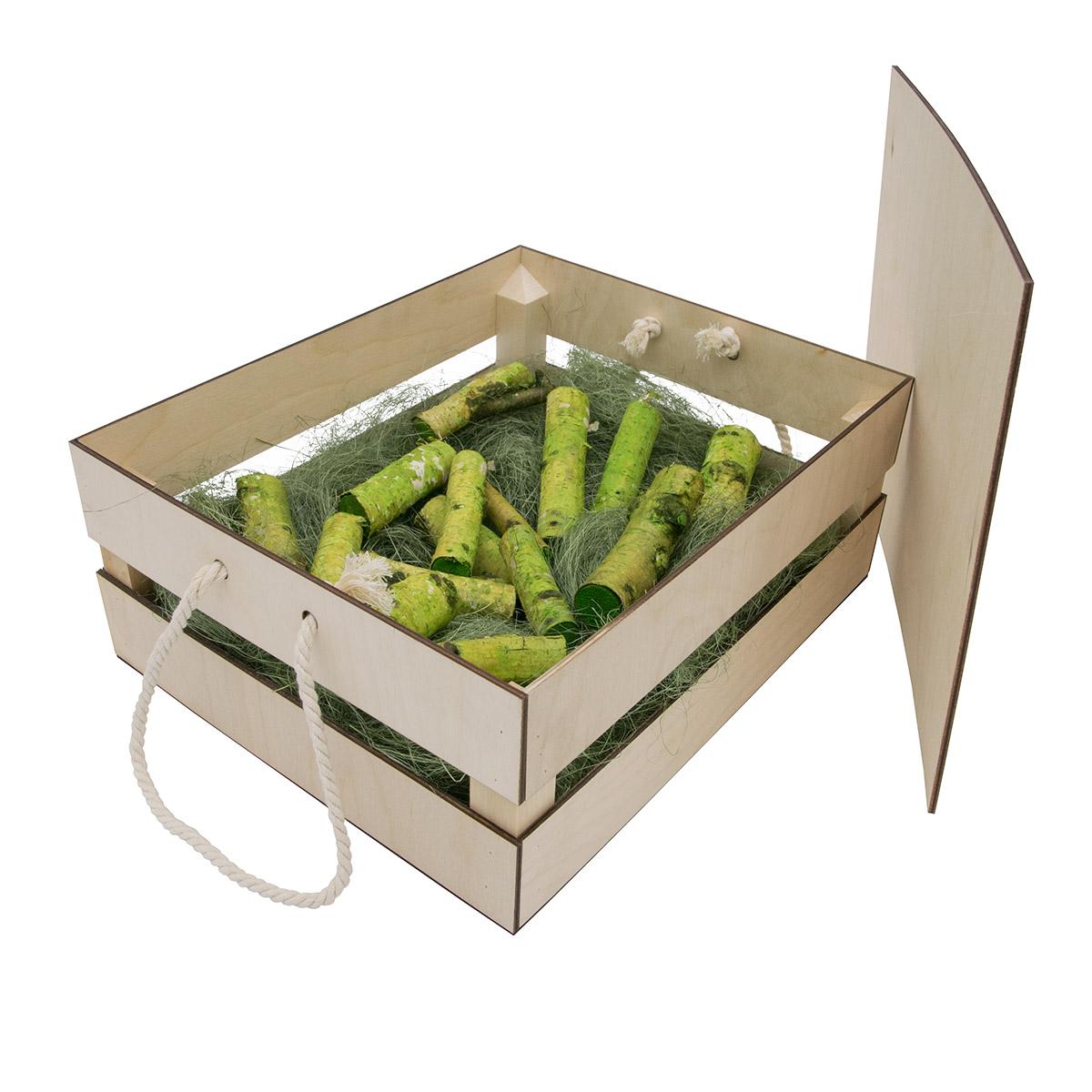 НА-015 Набор для оформления подарка 'Зеленый мужской', ящик 25*30 см, белый
