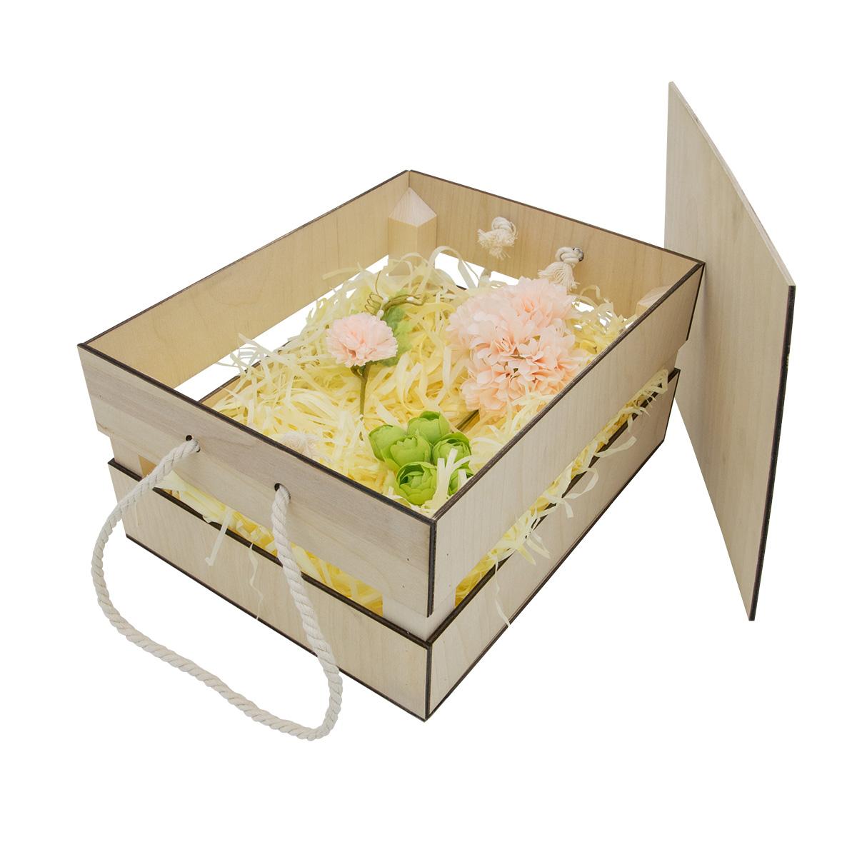 НА-022 Набор для оформления подарка 'Нежно-розовый', ящик 25*20 см, белый