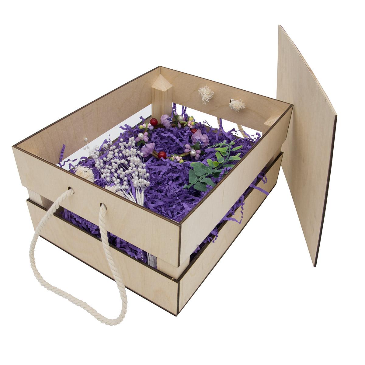 НА-024 Набор для оформления подарка 'Фиолет', ящик 25*20 см, белый