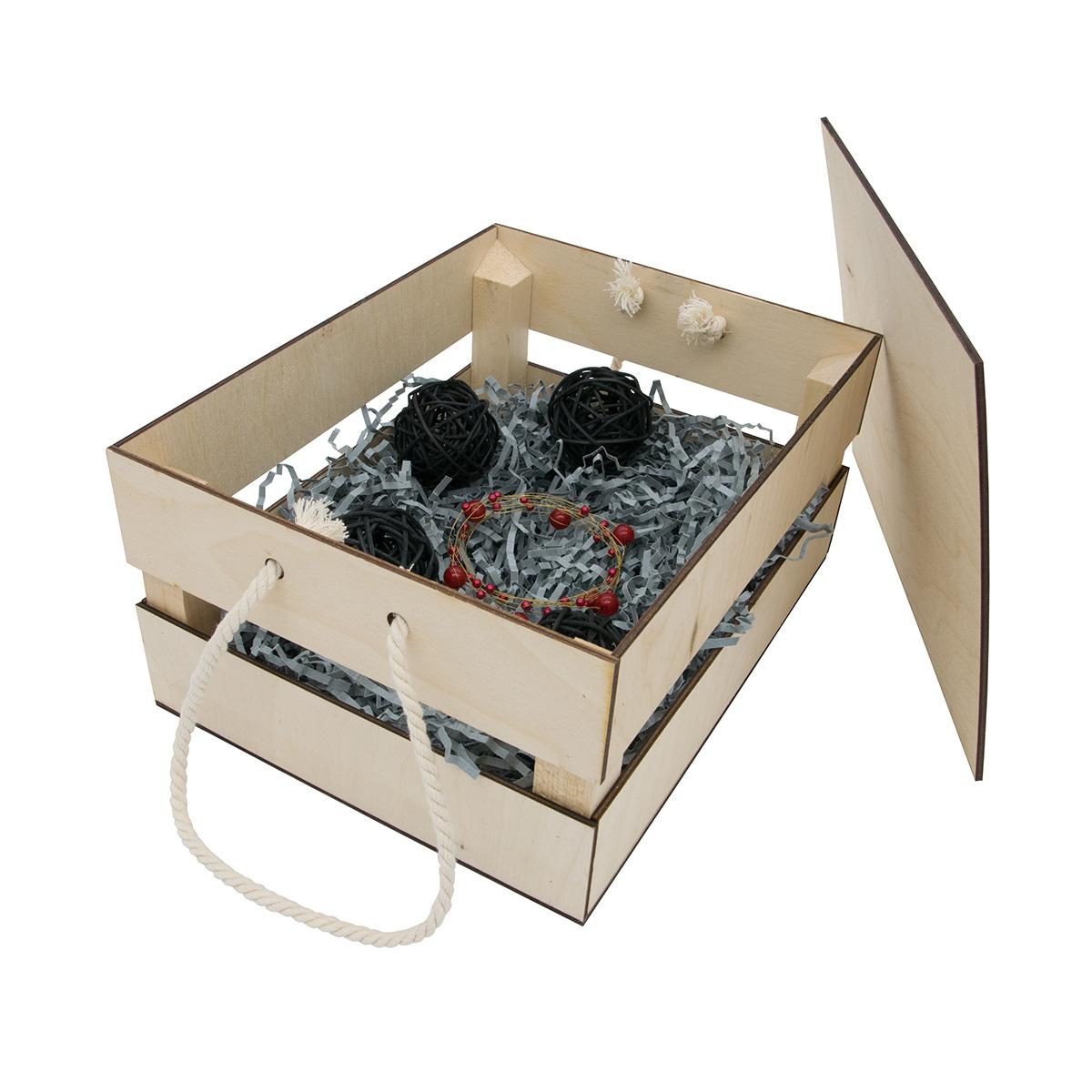НА-027 Набор для оформления подарка 'Черный мужской', ящик 25*30 см, белый