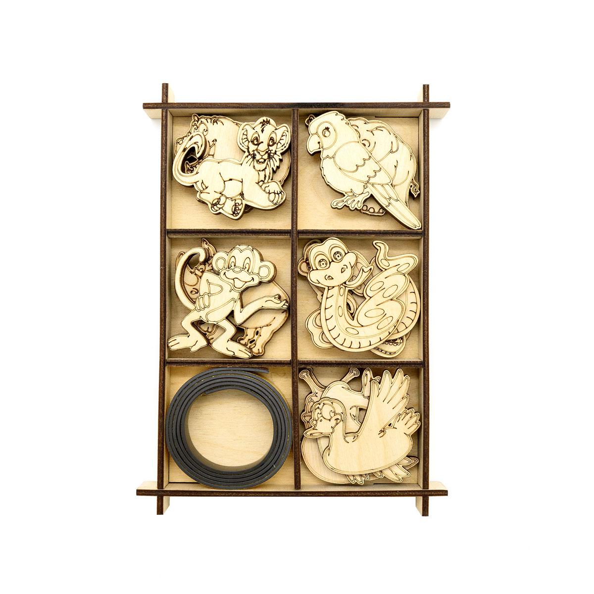L-1451 Деревянная заготовка ' Набор животных ' с магнитом 14,2*20*1,9см Астра