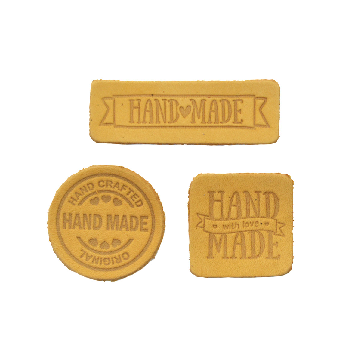 44 Набор термоаппликаций Hand Made из кожи: квадр.№5 - 1шт. круг№2 - 1шт. прямоуг.№3 - 1шт, 100%кожа