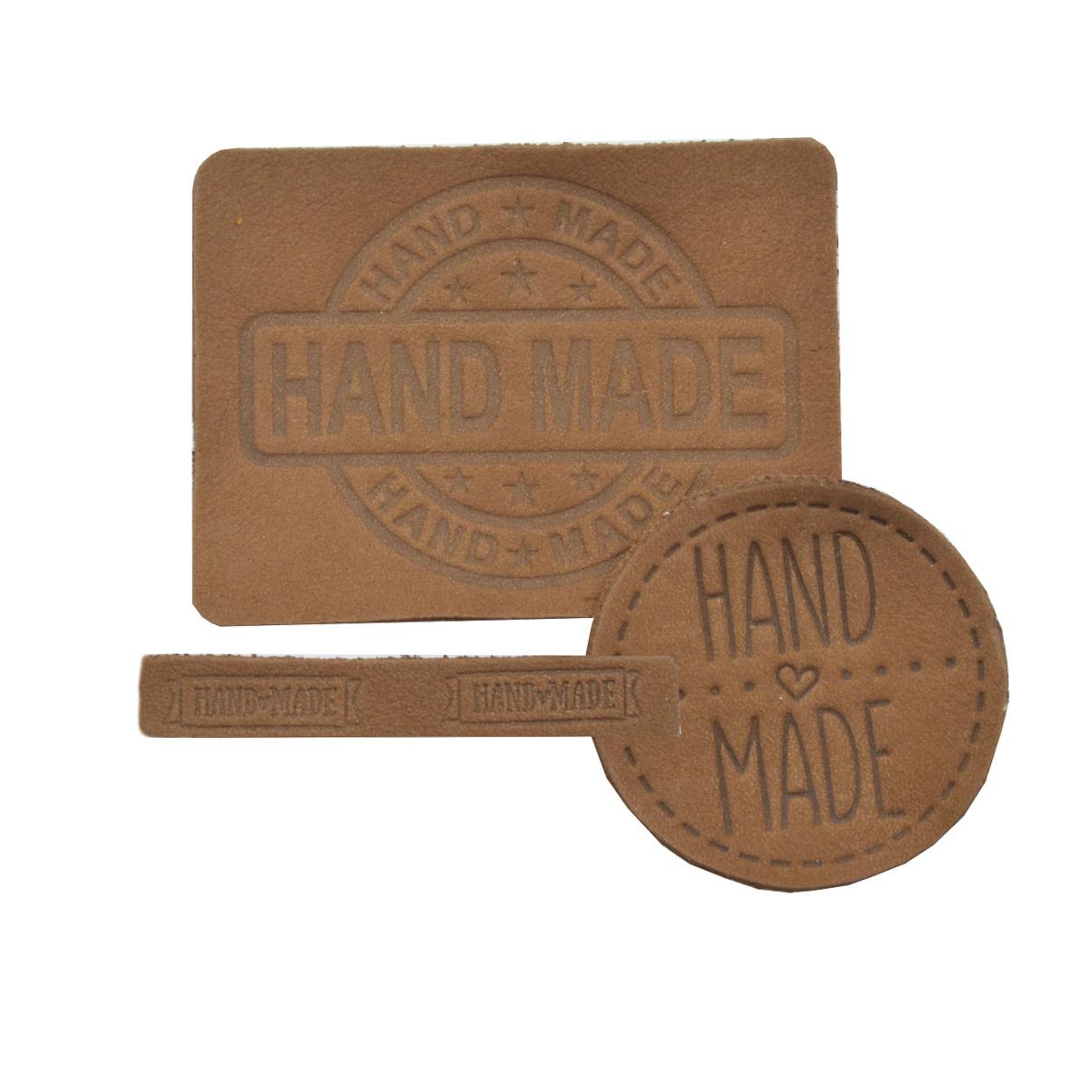 45 Набор термоаппликаций Hand Made из кожи: круг №39 - 1шт. прямоуг. №12 и №38 - по 1шт, 100% кожа
