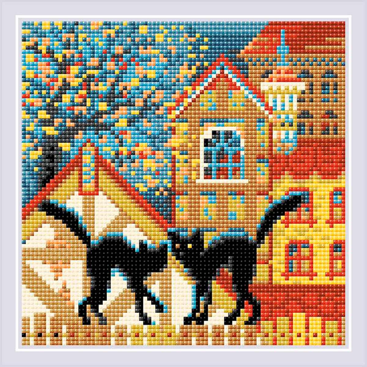 AM0049 Набор алмазной мозаики Риолис «Город и кошки. Осень» 20*20см