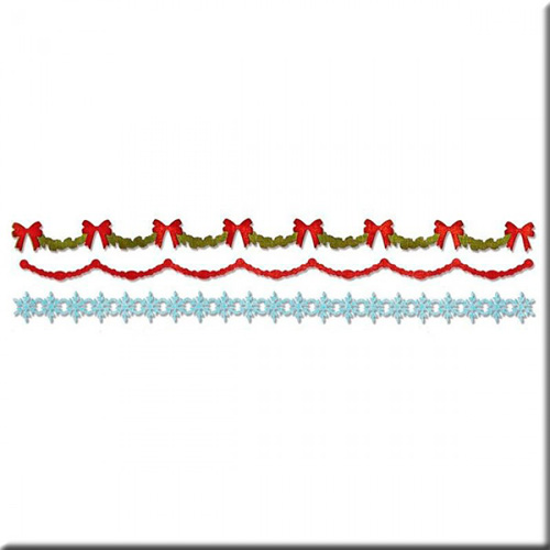 658760 Форма для эмбоссирования Холли, Бисер и Снежинка Sizzlits Decorative Strip Die