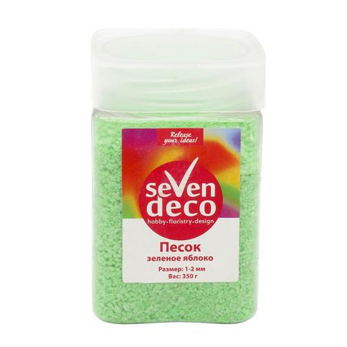 Песок кварцевый, 1-2мм, 350г зеленое яблоко DS-127