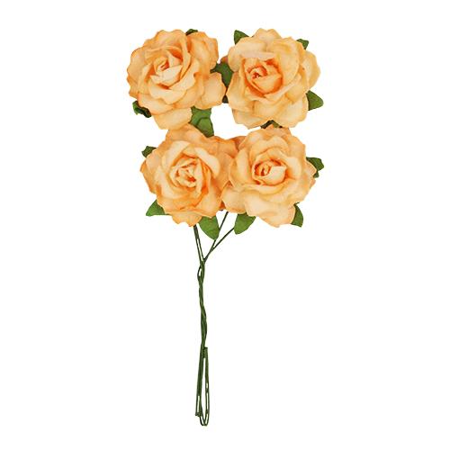 Цветы кудрявой розы, 4 шт (SCB291815 нежно-оранжевые)