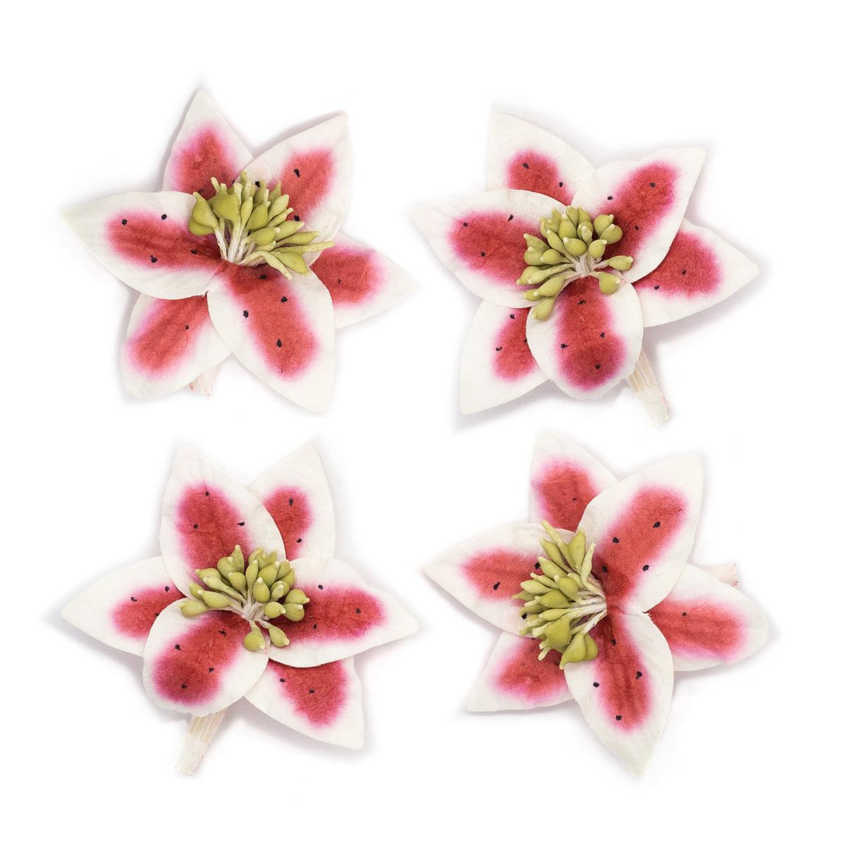 Цветы лилии, набор 4 шт, диам 5 см