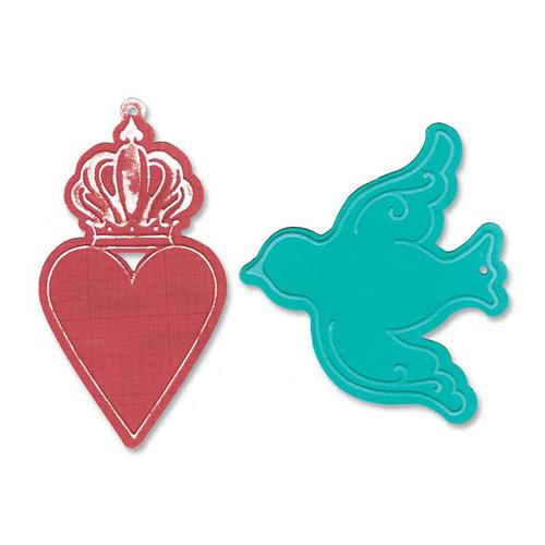 Форма для вырубки Сердце и Птицы Bigz Die и Textured Impressions 659183