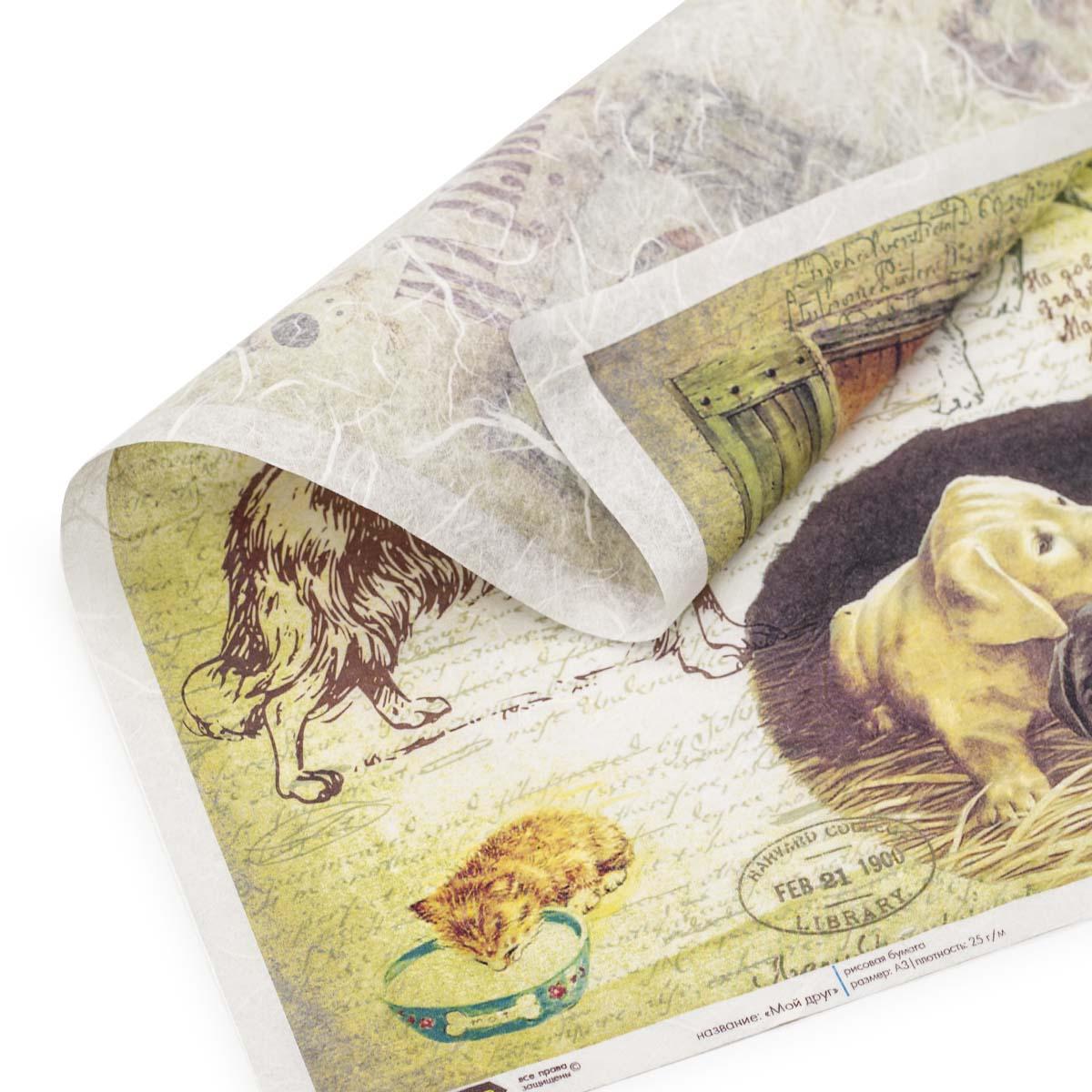 CP04419 Рисовая бумага для декупажа 'Craft Premier', 28,2х38,4см. 'Мой друг'