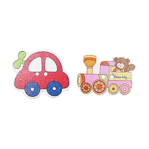 HY070406 Пуговицы деревянные, Машинка и паровоз, 4 шт