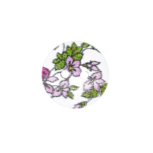 HY070466 Пуговицы деревянные круглые 15 мм Цветочки сиреневые, 100 шт