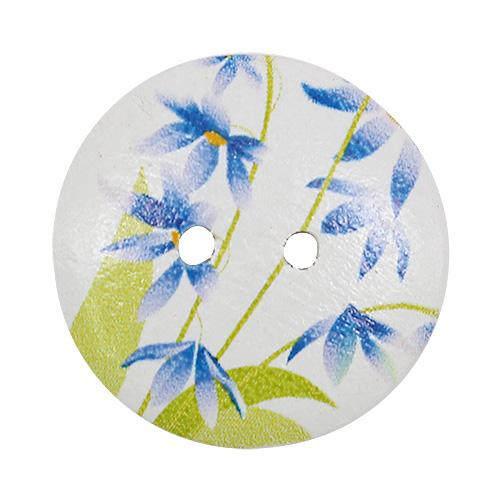 HY070469 Пуговицы деревянные круглые 20 мм Цветочки синие, 100 шт