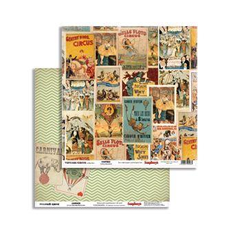 Бумага для скрапбукинга 30,5х30,5 см 180 гр/м двустор Старый цирк Афиши,10 шт SCB220604904