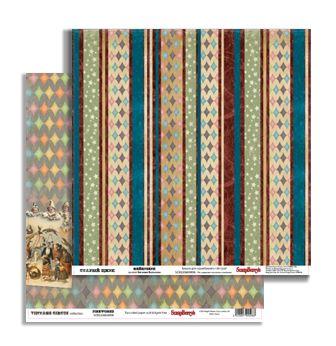 SCB220604906 Бумага для скрапбукинга, двустороняя 'Старый Цирк' 'Фейерверк', 180 гр./м, 30,5х30,5 см, упак./10 шт., ScrapBerry's