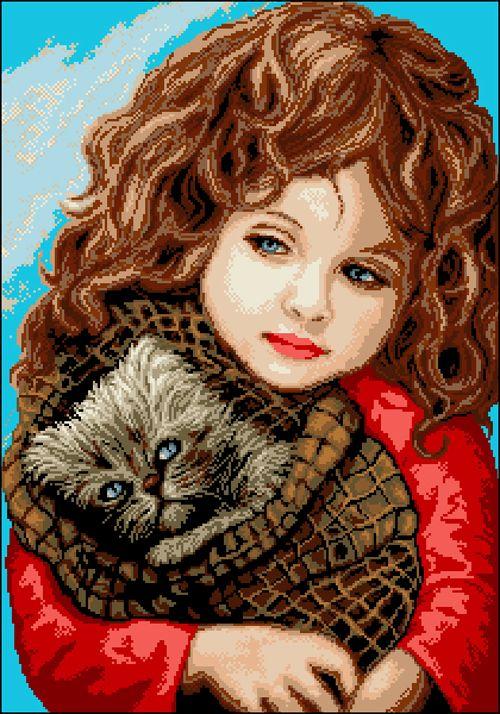 А-014 Канва с рисунком 'Девчушка с котиком' 43,5х60,5