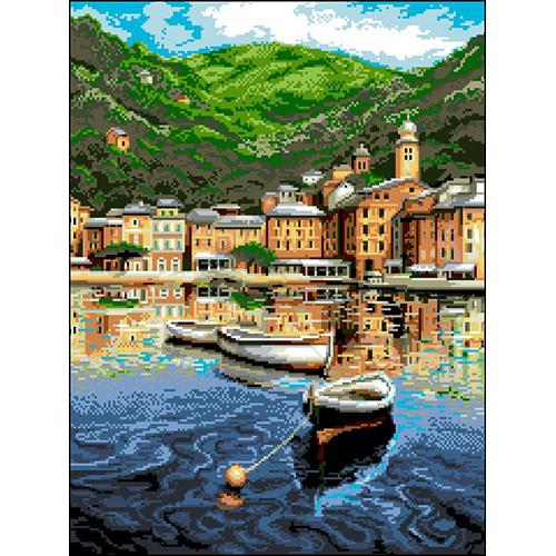 П-038 Канва с рисунком 'Гелиос' 'Лодка в бухте', 38,5х50 см