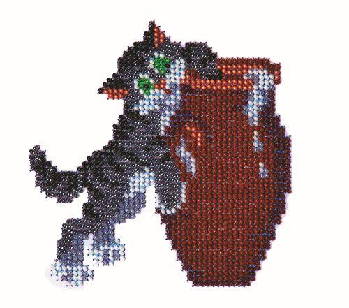 Б-0002 Набор для вышивания бисером 'Бисеринка' 'Кот и сметана', 11*11 см