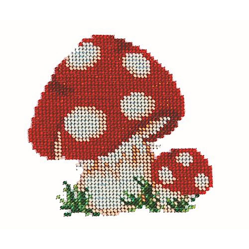 Б-0034 Набор для вышивания бисером 'Бисеринка' 'Мухоморчики', 11*11 см