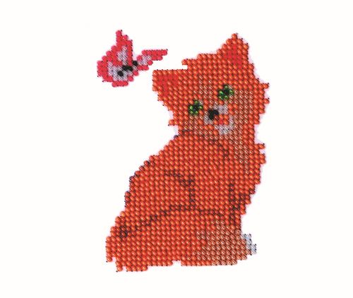 Б-0021 Набор для вышивания бисером 'Бисеринка' 'Киса', 8*11 см