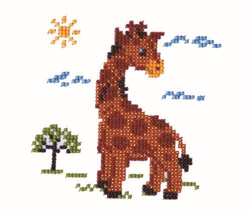 Б-0008 Набор для вышивания бисером 'Бисеринка' 'Жираф', 12*12 см