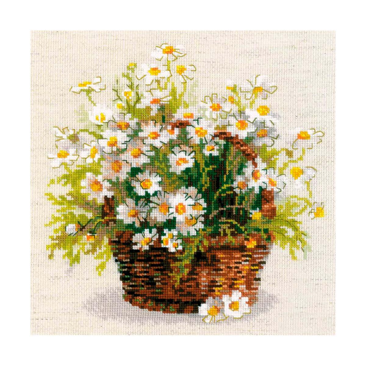 1478 Набор для вышивания Riolis 'Русские ромашки', 25*25 см