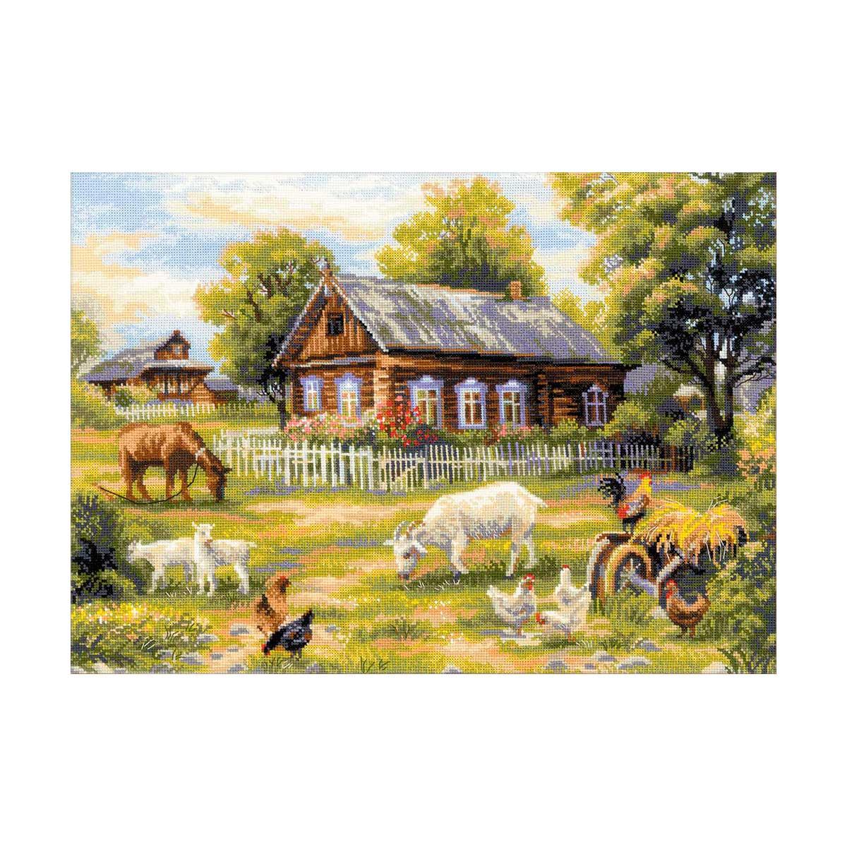 1501 Набор для вышивания Riolis 'Деревенский полдень', 50*35 см
