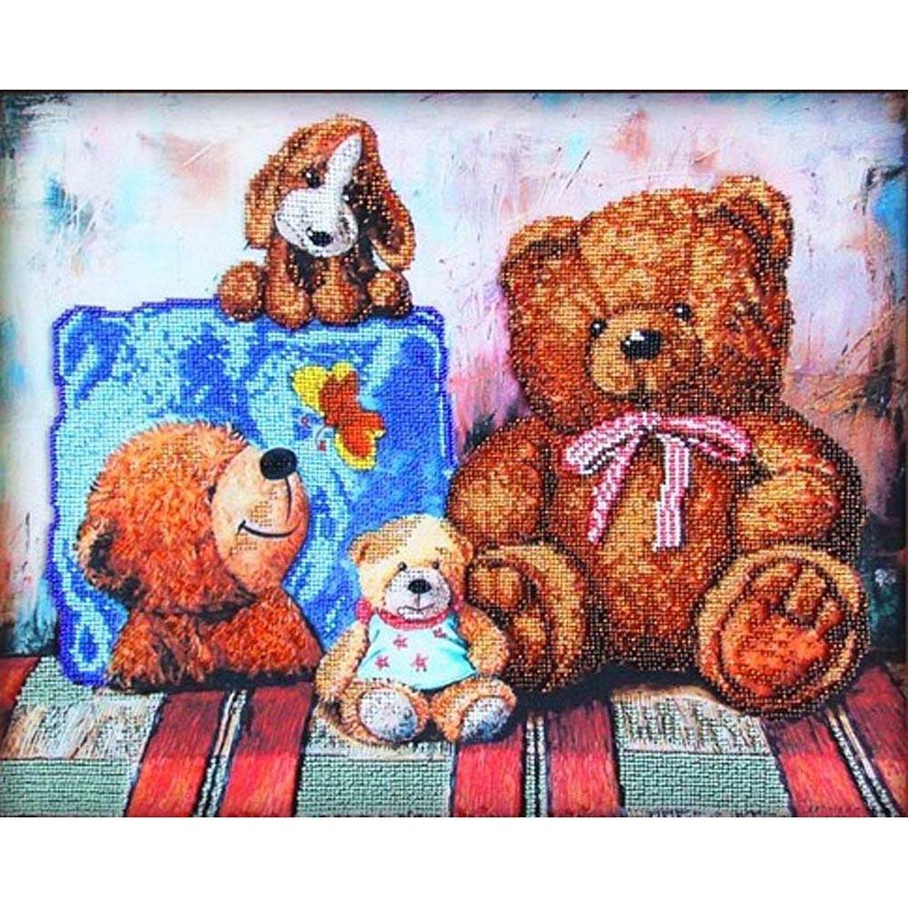 56018 Набор для вышивания бисером Astrea 'Плюшевые медведи 1', 40х32 см