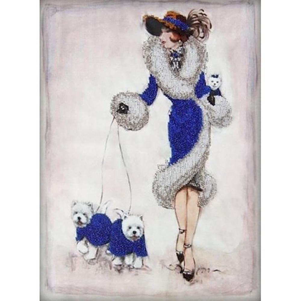 55095 Набор для вышивания бисером Gluriya 'Прогулка в синем', 40х30 см