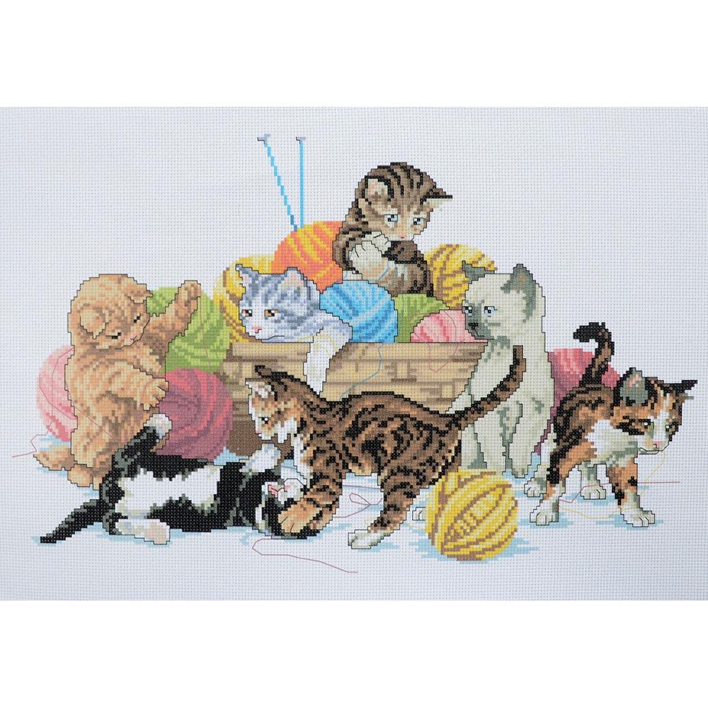 Д-003 Канва с рисунком 'Гелиос' 'Игривые котята', 30х45 см