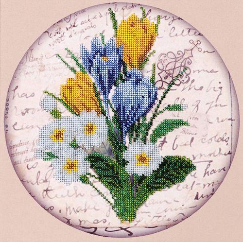 НР-3054 Канва с рисунком для вышивания бисером 'Первоцвет' Hobby&Pro 25*25см