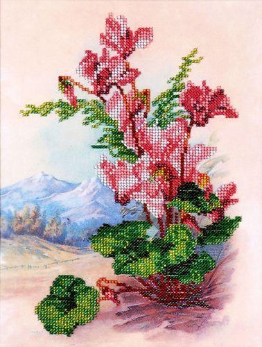 НР-3021 Канва с рисунком для вышивания бисером 'Цикломены' Hobby&Pro 20*27см