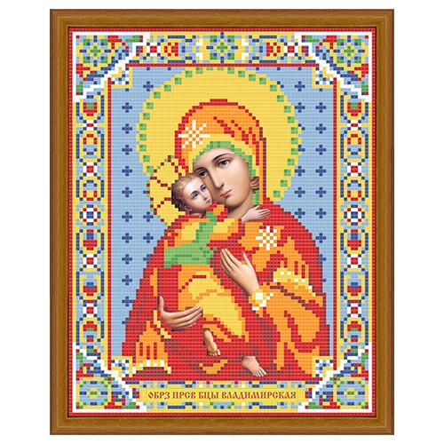 АЖ-2007 Картина стразами 'Алмазная живопись' 'Икона Владимирская Богородица', 22*28 см