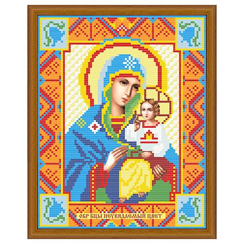 АЖ-2008 Картина стразами 'Алмазная живопись' 'Икона Неувядаемый цвет', 22*28 см