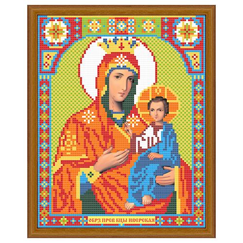 АЖ-2010 Картина стразами 'Алмазная живопись' 'Икона Иверская Богородица', 22*28 см