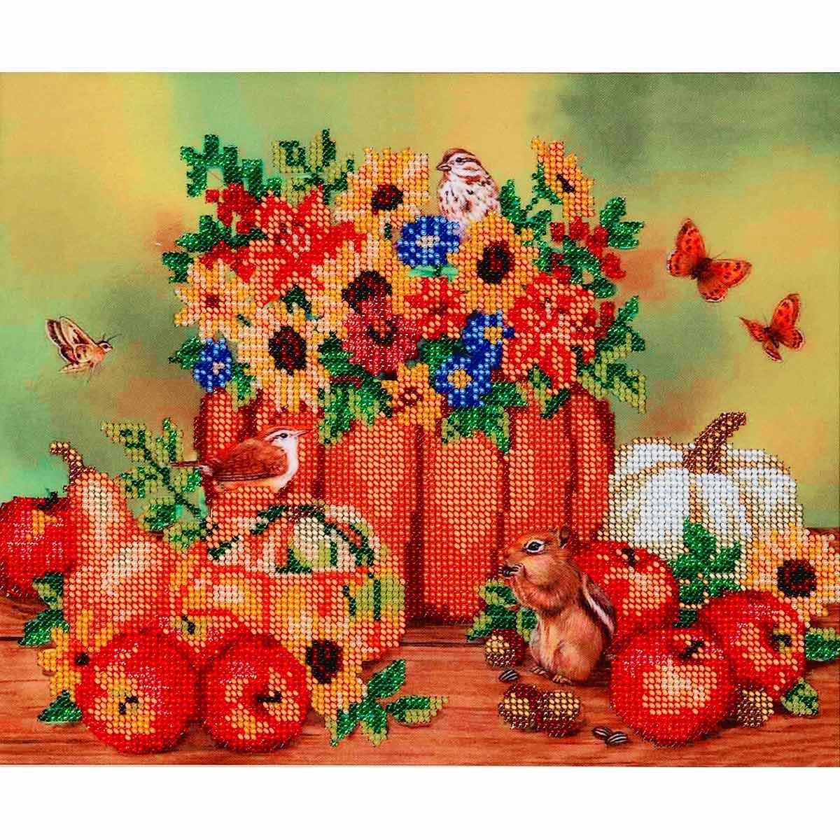 БН-3057 Набор для вышивания бисером Hobby&Pro 'Осенние посиделки', 30*25 см